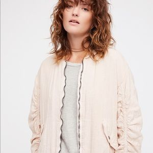 Free people Ruched Linen Bomber Jacket Size XS S